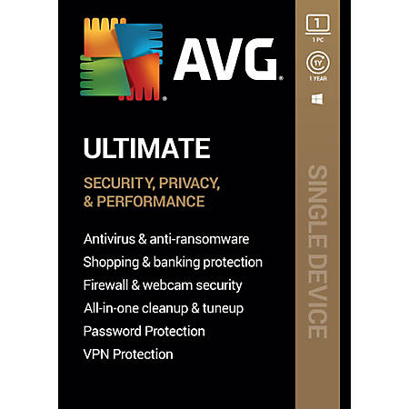 AVG Ultimate Software, For 1 Device, 1-Year Subscription, For PC/Mac, Traditional Disc