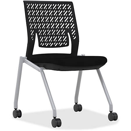 Mayline® Thesis Flex Back Stackable Armless Chairs, Black/Gray, Set Of 2