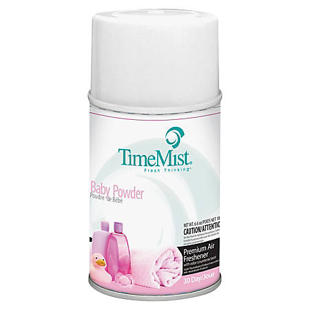 TimeMist Metered Dispenser Baby Powder Scent Refill - Aerosol - 6000 ft³ - 5.3 fl oz (0.2 quart) - Baby Powder - 30 Day - 12 / Carton - Long Lasting, Odor Neutralizer
