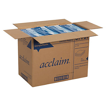 Acclaim 1-Ply 1/4-Fold Luncheon Napkins, White, 500 Per Pack, Case Of 12