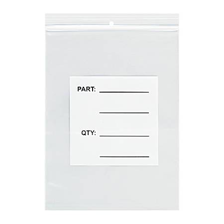 """Office Depot® Brand Parts Bags With Hang Holes, 9"""" x 12"""", Clear/White, Case Of 1,000"""