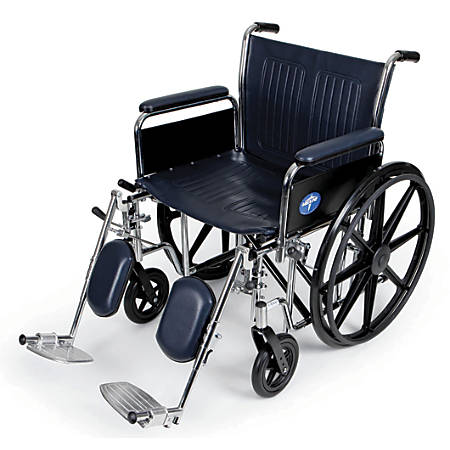 "Medline Extra-Wide Wheelchair, Elevating, 20"" Seat, Navy/Chrome"