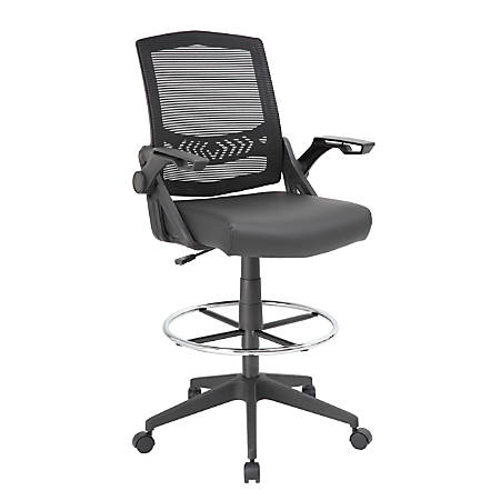Boss Office Products Flip Arm Drafting Stool With Mesh Back, Black