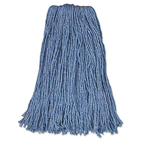 """Rubbermaid® Commercial Cotton/Synthetic Cut-End Mop Heads, 24 Oz, 1"""" Band, Carton Of 12 Mop Heads"""