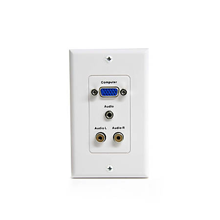 StarTech.com 15-Pin Female VGA Wall Plate with 3.5mm and RCA - White - 1-gang - D-sub VGA
