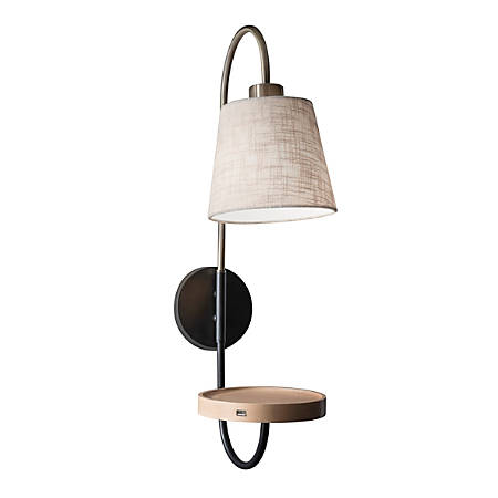 "Adesso® Jeffrey Wall Lamp, 25""H, Off-White Shade/Black/Brass Base"