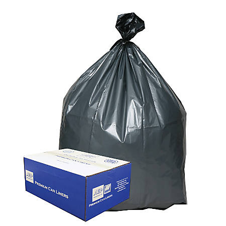 "Webster Platinum Plus™ Trash Can Liners, 31-33 Gallons, 1.35 Mil Thick, 33"" x 40"", Box Of 100"