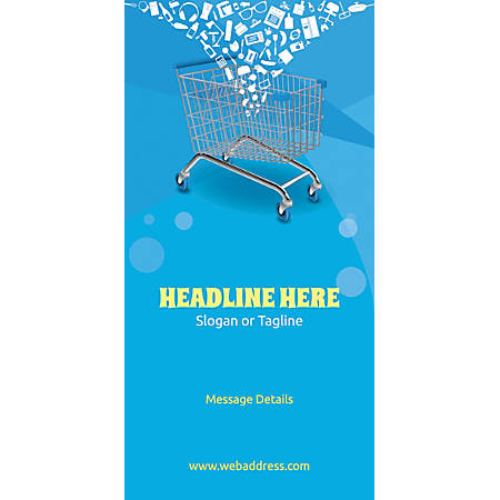 Custom Vertical Display Banner, Shopping Cart