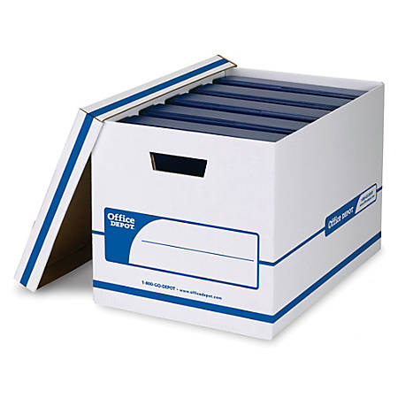 "Office Depot® Brand NBE Binder Storage Boxes, 20 1/8"" x 13 1/8"" x 12 3/8"", 60% Recycled, White/Blue, Pack Of 2"
