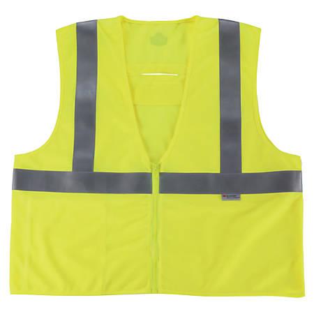 Ergodyne GloWear Flame-Resistant Hi-Vis Safety Vests, Type R, Class 2, Large/X-Large, Lime, Pack Of 6 Vests