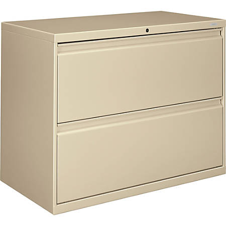 "HON® 800 36""W Lateral 2-Drawer File Cabinet With Lock, Metal, Putty"