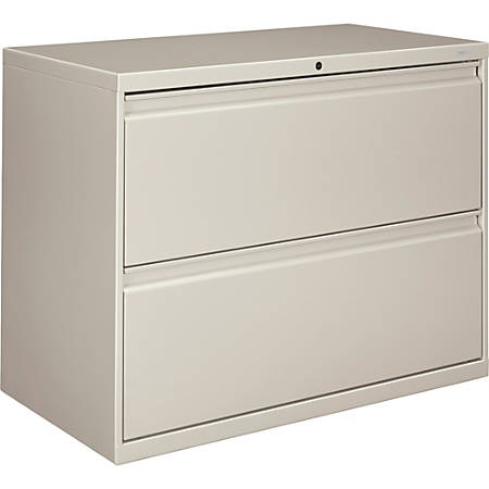 """HON® 800 36""""W Lateral 2-Drawer File Cabinet With Lock, Metal, Light Gray"""