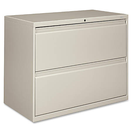 "HON® 800-Series Lateral File With Lock, 2 Drawers, 28""H x 36""W x 19 1/4""D, Light Gray"