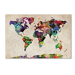 Trademark global urban watercolor world map gallery wrapped canvas trademark global urban watercolor world map gallery wrapped canvas print by michael tompsett 22 gumiabroncs Image collections