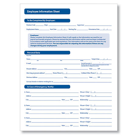 "ComplyRight Employee Information Sheets, 11"" x 17"", White, Pack Of 50"
