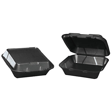 "Genpak® Snap-It Foam Hinged Carryout Containers, 3""H x 8""W x 8 1/4""D, Black, 100 Containers Per Bag, Carton Of 2 Bags"