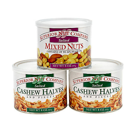 Superior Nut Nuts, Salted Mixed Nuts And Cashew Halves, 8 Oz, Box Of 3