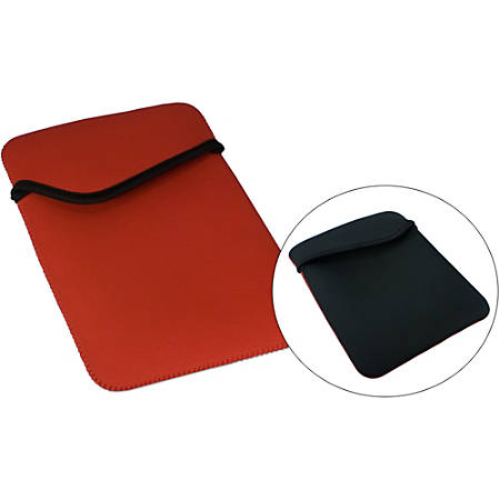 "QVS Carrying Case (Sleeve) iPad 2, iPad 3, Tablet - Red, Black - Scratch Resistant Interior - Nylon, Neoprene - 9.8"" Height x 7.8"" Width"