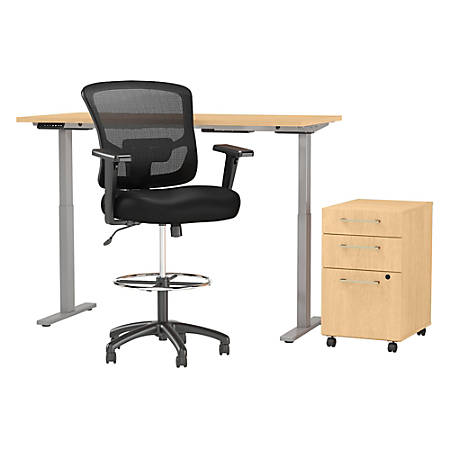 Prime Move 60 Series By Bush Business Furniture 60W Height Adjustable Standing Desk With Storage And Drafting Chair Natural Maple Standard Delivery Item Uwap Interior Chair Design Uwaporg