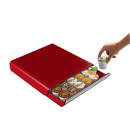 Mind Reader Hero Coffee Capsule Drawer, 36-Pod Capacity, Red