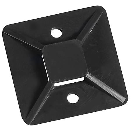 "Office Depot® Brand Cable Tie Mounts, 1"" x 1"", Black, Case Of 100"
