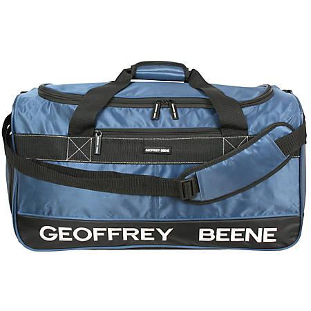 "Overland Geoffrey Beene Embroidered Duffel Bag, 10-1/2""H x 11""W x 24""D, Blue"