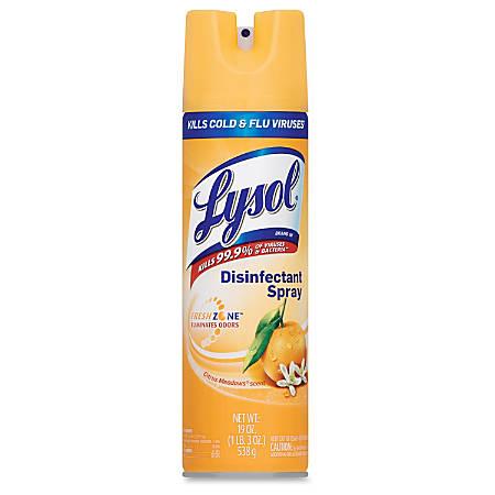 Lysol Citrus Disinfectant Spray - Aerosol - 0.15 gal (19 fl oz) - Citrus Meadow Scent - 12 / Carton - Clear