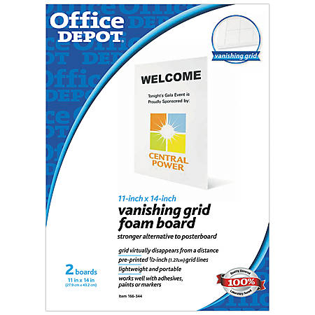 "Office Depot® Brand Vanishing Grid Presentation Tri-Fold Foam Board, 11"" x 14"", White, Pack Of 2"