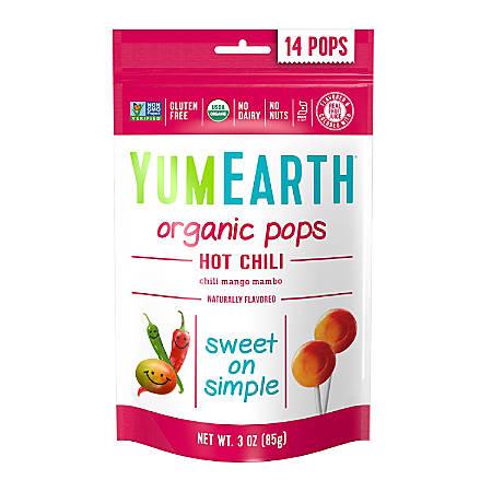 Yummy Earth Organic Hot Chili Mango Lollipops, 3 Oz, Pack Of 6