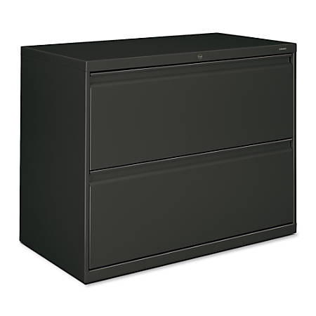 """HON® 800-Series Lateral File With Lock, 2 Drawers, 28""""H x 36""""W x 19 1/4""""D, Charcoal"""