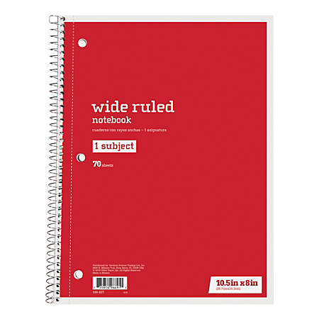 "Just Basics® Spiral Notebook, 7-1/2"" x 10-1/2"", Wide Ruled, 140 Pages (70 Sheets), Red"
