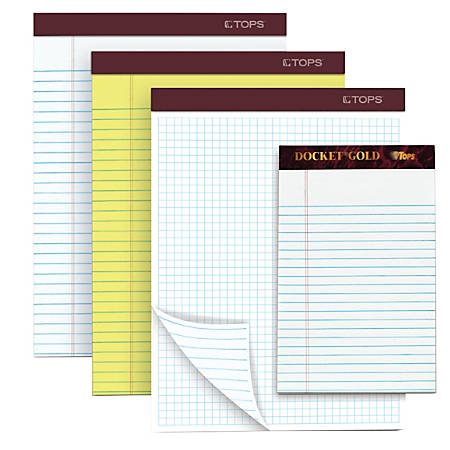 """TOPS™ Docket Gold™ Premium Writing Pad, 5"""" x 8"""", Legal Ruled, 50 Sheets, White"""
