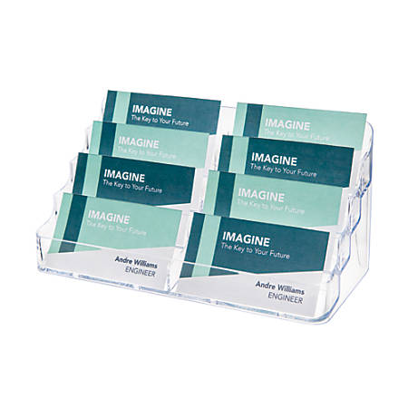 "Deflect-O® 8-Compartment Business Card Holder, 3 7/8""H x 7 7/8""W x 3 5/8""D, Clear"