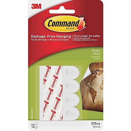 """Command™ Removable Adhesive Poster Strips, 1 3/4"""", Clear, Pack Of 12"""