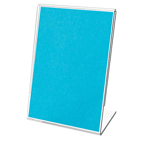 """Deflecto® Mini Tabletop Sign Holder, 2 1/16""""W x 1 1/2""""D x 3 1/8""""H, Clear, Pack of 10"""