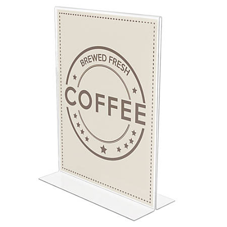 """Deflecto® Anti-Glare Double Sided Sign Holder, Portrait, 11 3/16""""H x 8 1/2""""W x 3 3/4""""D, Clear"""