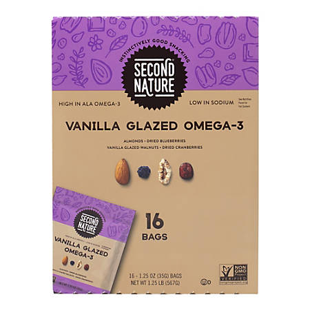 Second Nature Vanilla Glazed Omega-3 Dried Fruit And Nut Mix, 1.25 Oz, Pack Of 16 Mixes