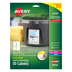 "Avery® Easy Align™ Self-Laminating ID Labels, AVE00755, 3 1/2"" x 4 1/2"", White, Pack of 50"