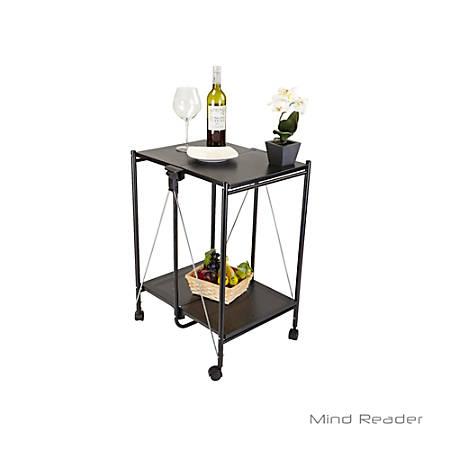 Mind Reader 2-Tier Metal Foldable Cart, Black