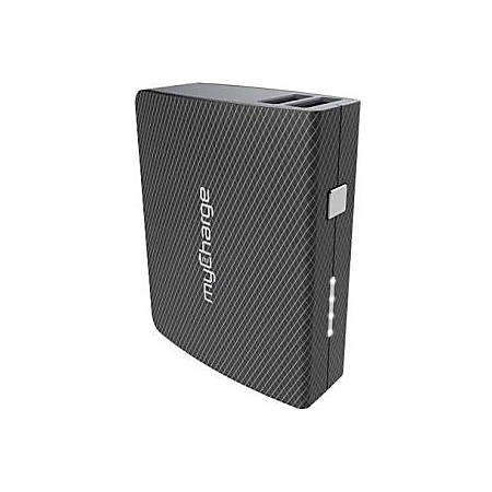 myCharge AmpMax Power Bank - For Smartphone, USB Device, Tablet PC - Lithium Ion (Li-Ion) - 6700 mAh - 2.40 A - 5 V DC Output - 5 V DC Input - 2 x - Black/Gray
