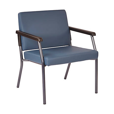 Bariatric Big & Tall Chair in Dillion Blue Fabric with Soft PU Arms, Sturdy Metal Frame and Metal Back Bar Re-enforcement