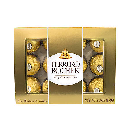 Ferrero Rocher Roasted Hazelnut Chocolates, 12-Piece Gift Box, 5.3 Oz, Case Of 6 Boxes