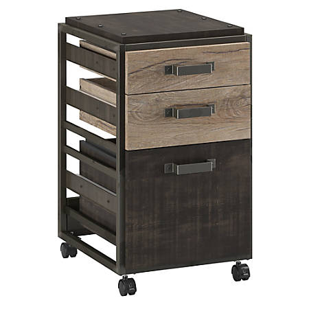 Bush Furniture Refinery 3 Drawer Mobile File Cabinet, Rustic Gray/Charred Wood, Standard Delivery