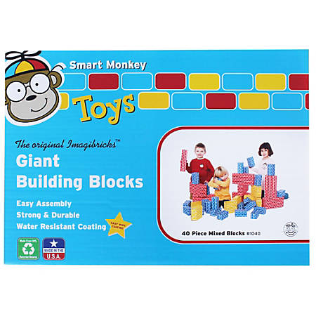 Smart Monkey ImagiBRICKS™ Giant 40-Piece Building Block Set, Assorted Colors And Sizes