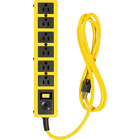Woods 6 Outlet 6' Metal Yellow Jacket Strip - 6 x AC Power - 6 ft Cord - 125 V AC Voltage - 1875 W