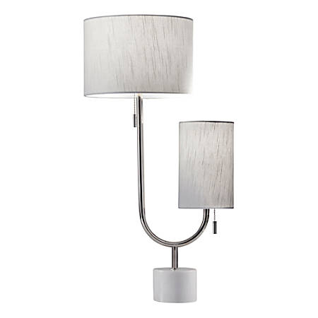"Adesso® Sloan Table Lamp, 26""H, White Shades/Polished-Nickel And Marble Base"