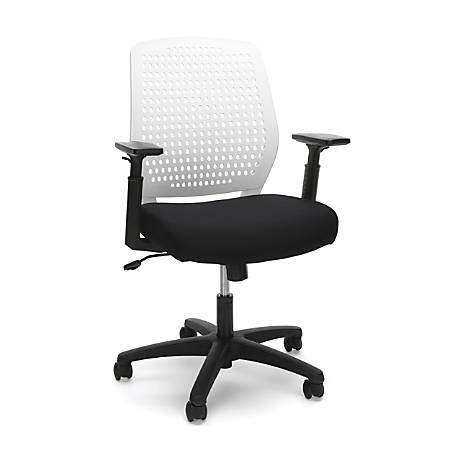 OFM Essentials Plastic Mid-Back Task Chair, White/Black
