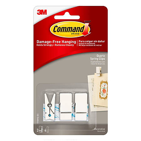 3M™ Command™ Quartz Spring Clips, Small, White, Pack Of 3