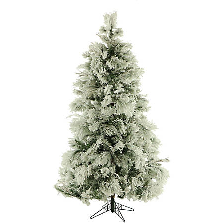 Fraser Hill Farm Flocked Snowy Pine Christmas Tree, 6.5', With Clear LED String Lighting