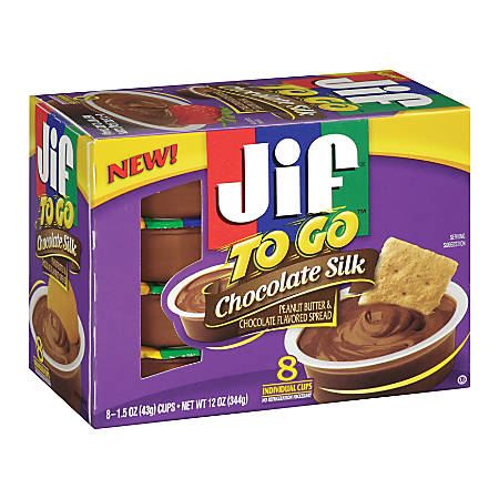 Jif To Go Chocolate Silk Peanut Butter & Chocolate Flavored Spread, 12 Oz, Box Of 8